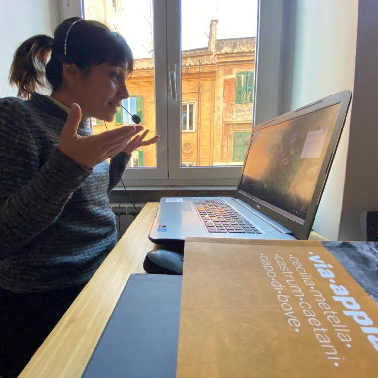 francesca explaining during a virtual tour
