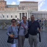 Angelica with two guests in St Peter's Square