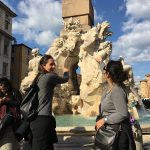 Twilights of Rome and a glass of wine, Fountain of the four rivers by Bernini, Piazza Navona