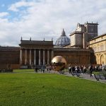Vatican Museums Pinecone Courtyard view on Pomodoro Sphere