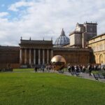 Vatican Museums pinecone courtyard. View on Pomodoro's Sphere